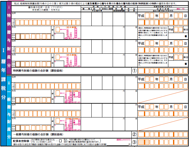贈与税申告書第1表